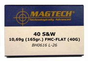 40 S&W Mag Tech 165 Grain Full Metal Jacket Flat
